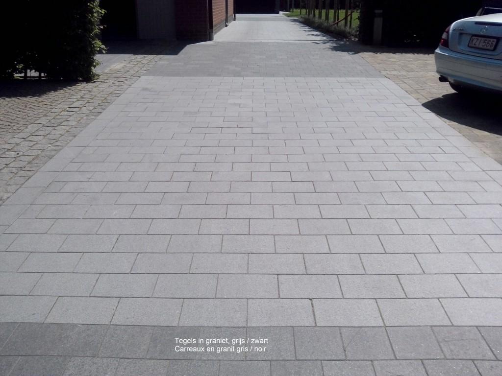 Oprit in grijze en zwarte graniet   de wandeleer natuursteen
